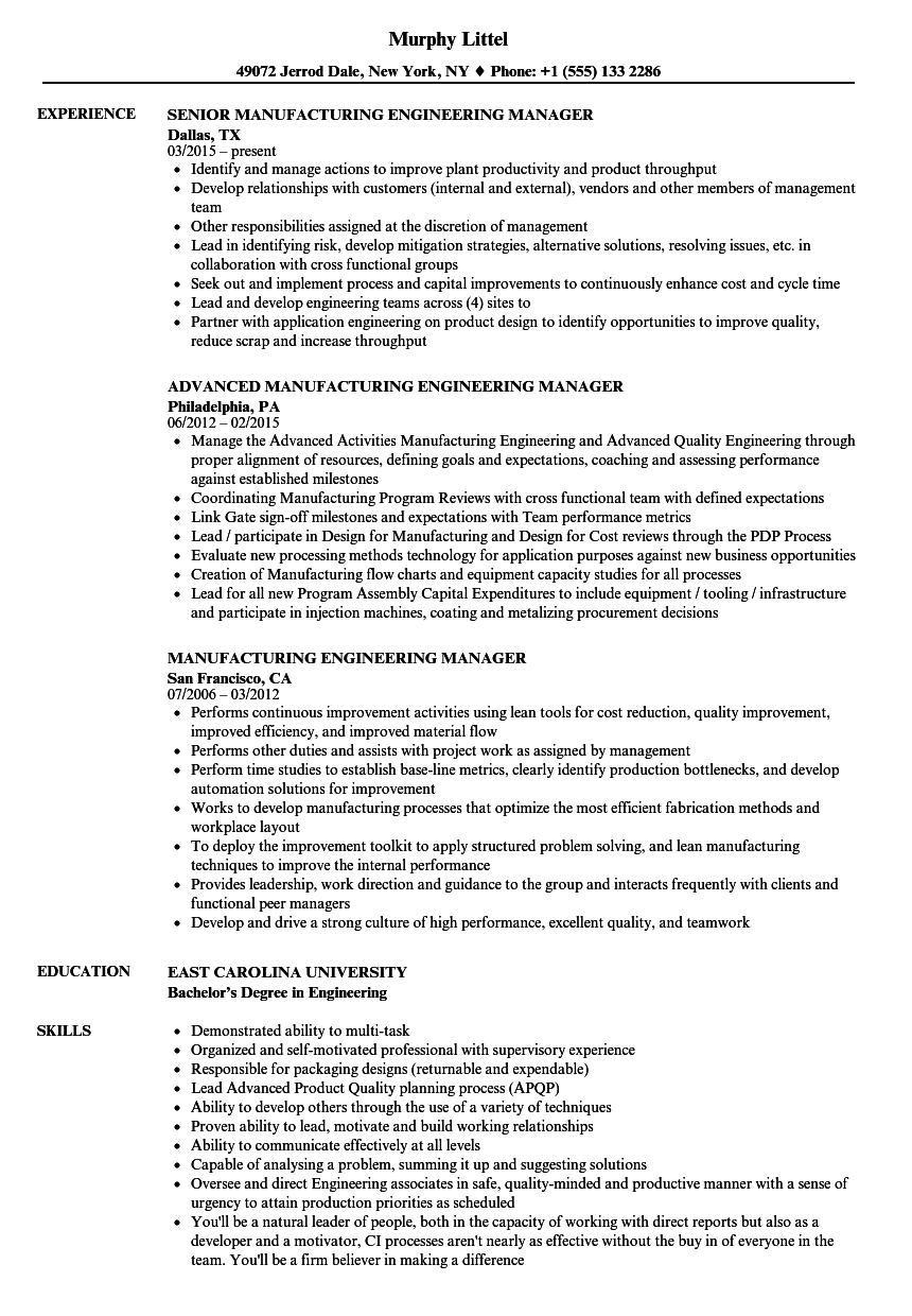 Manufacturing Engineering Manager Resume Samples | Velvet Jobs