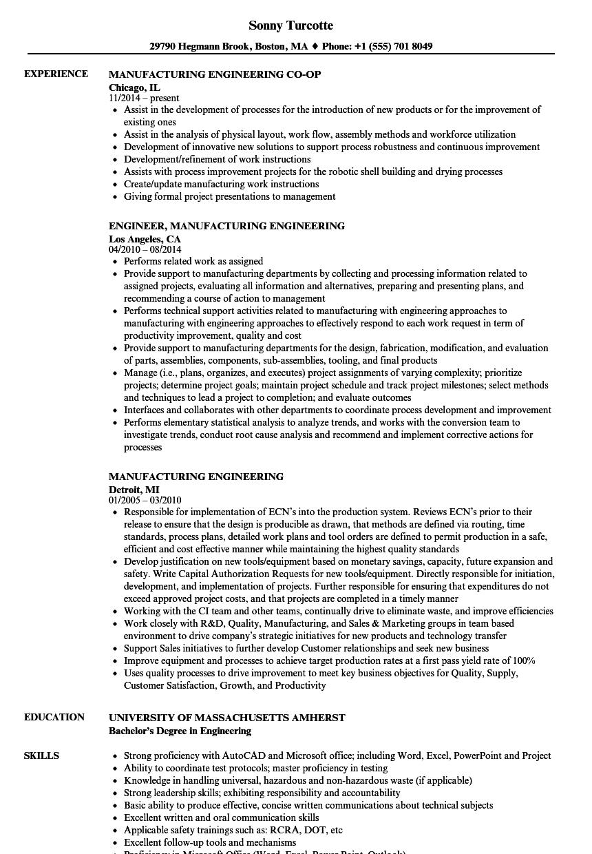 Manufacturing Engineering Resume Samples | Velvet Jobs
