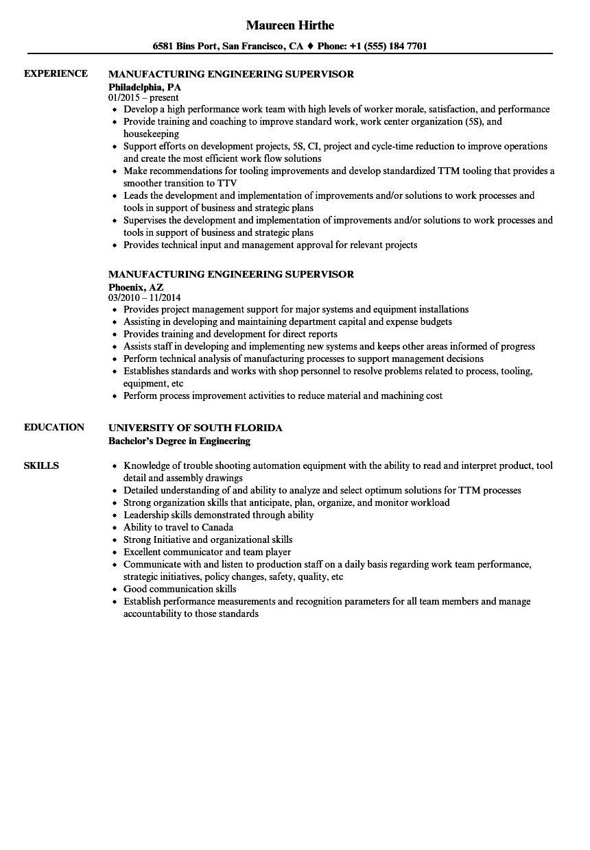 manufacturing engineering supervisor resume samples