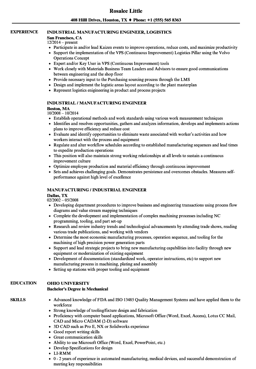 Manufacturing Industrial Engineer Resume Samples Velvet Jobs