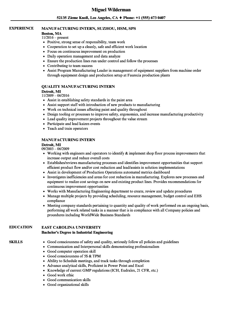 Manufacturing Intern Resume Samples | Velvet Jobs