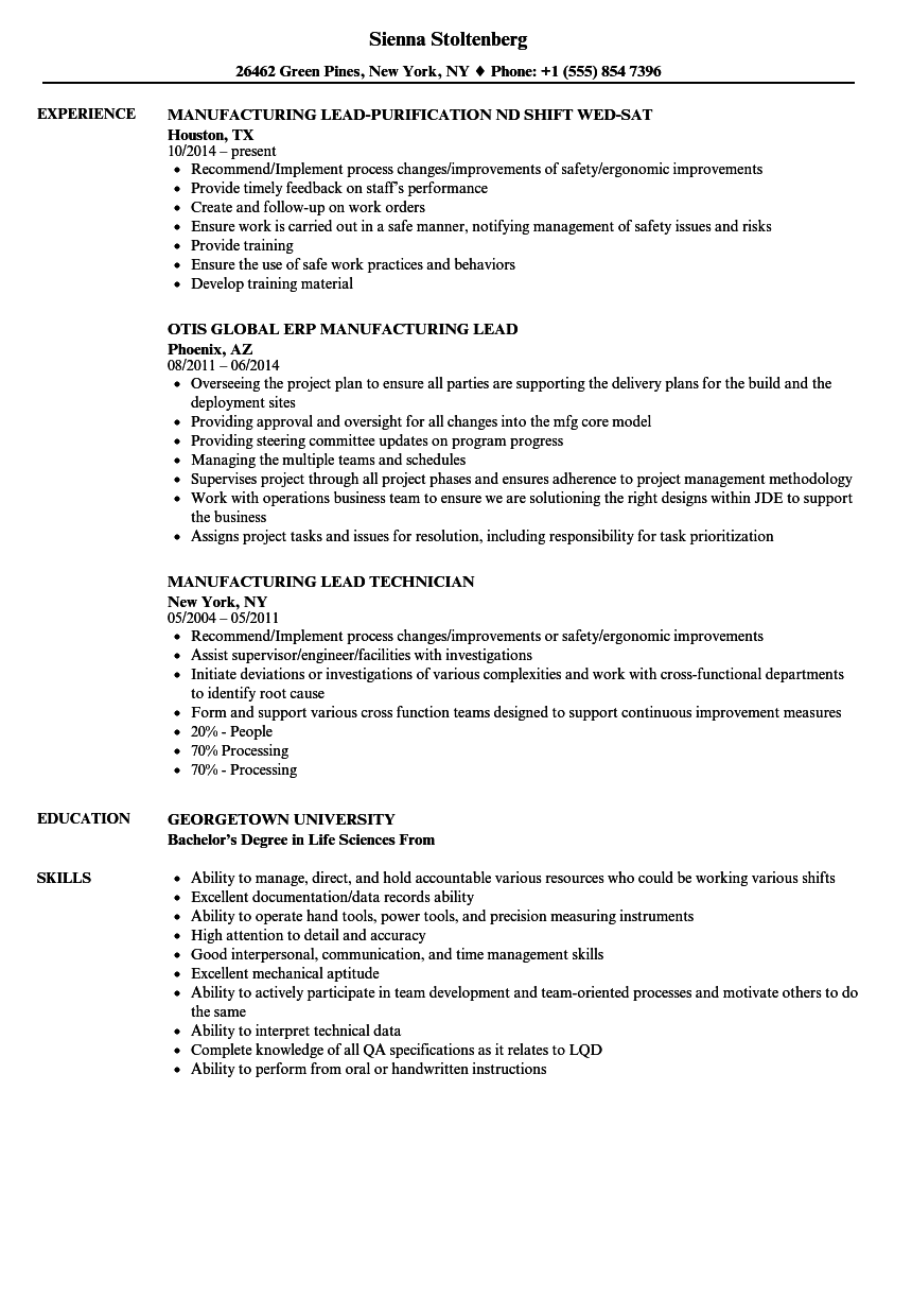 manufacturing lead resume samples