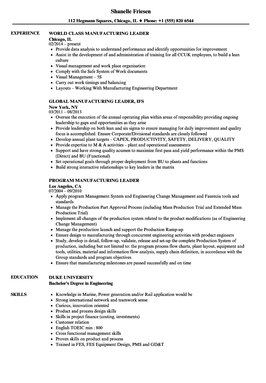 manufacturing leader resume samples