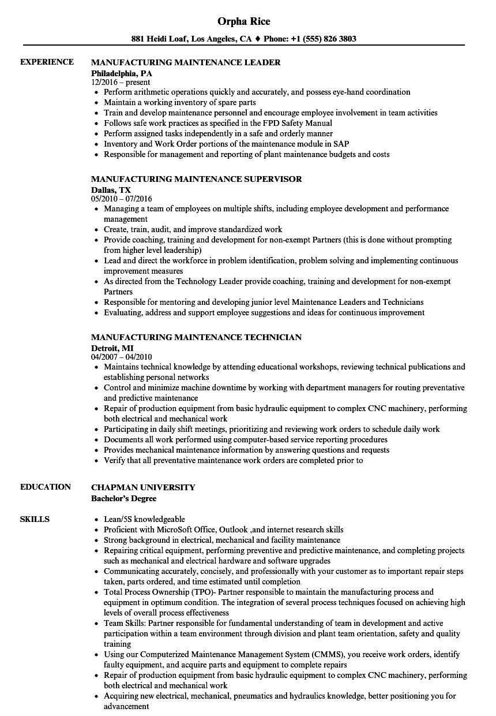 manufacturing maintenance resume samples velvet jobs