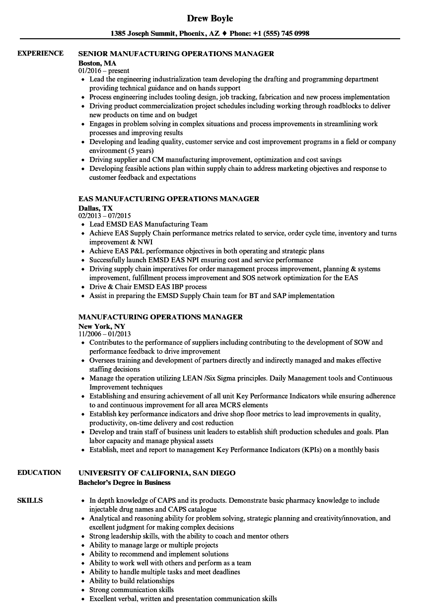 manufacturing operations manager resume samples velvet jobs