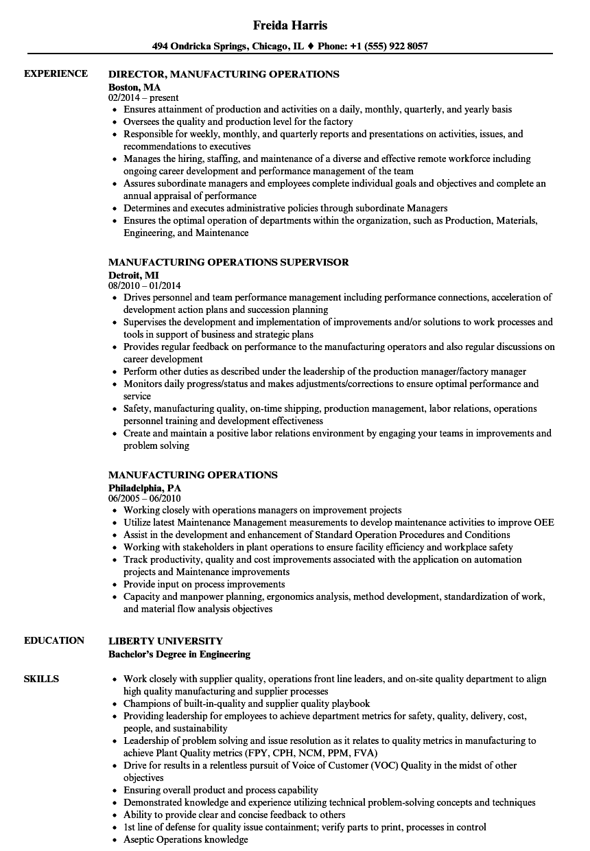manufacturing operations resume samples