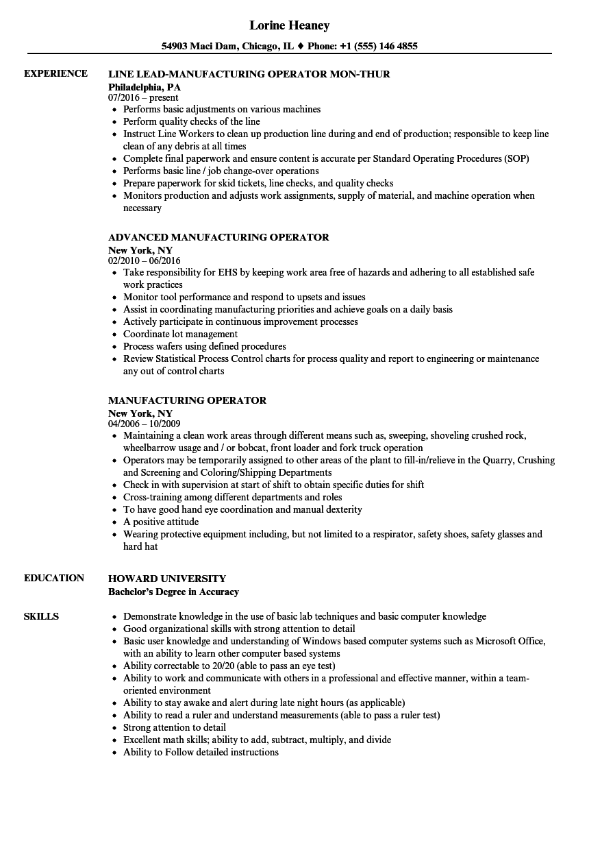 resume for manufacturing job thevillas co