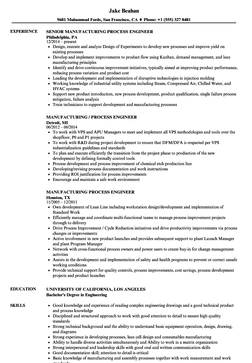 sample resume manufacturing process engineer