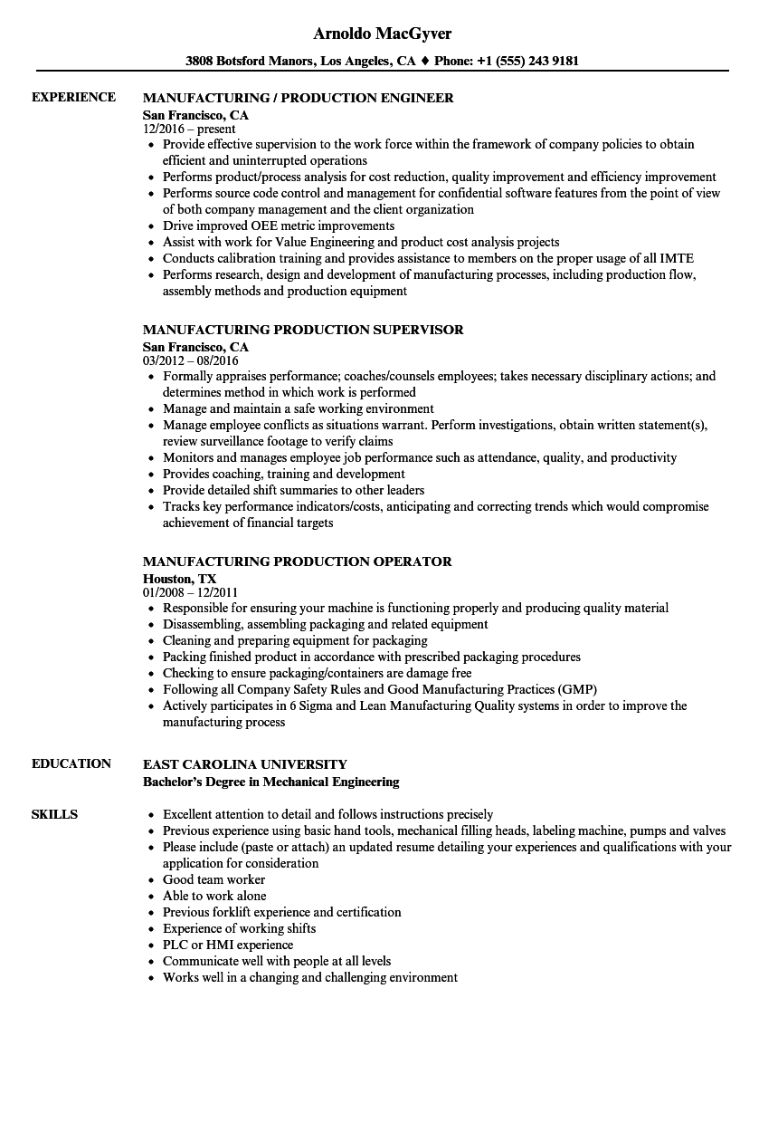 manufacturing production resume samples