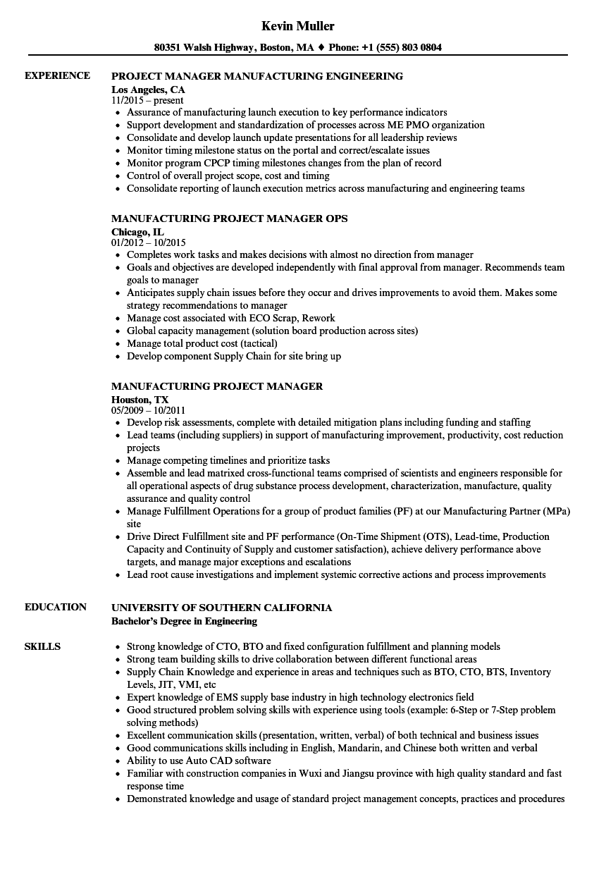 Manufacturing Project Manager Resume Samples | Velvet Jobs
