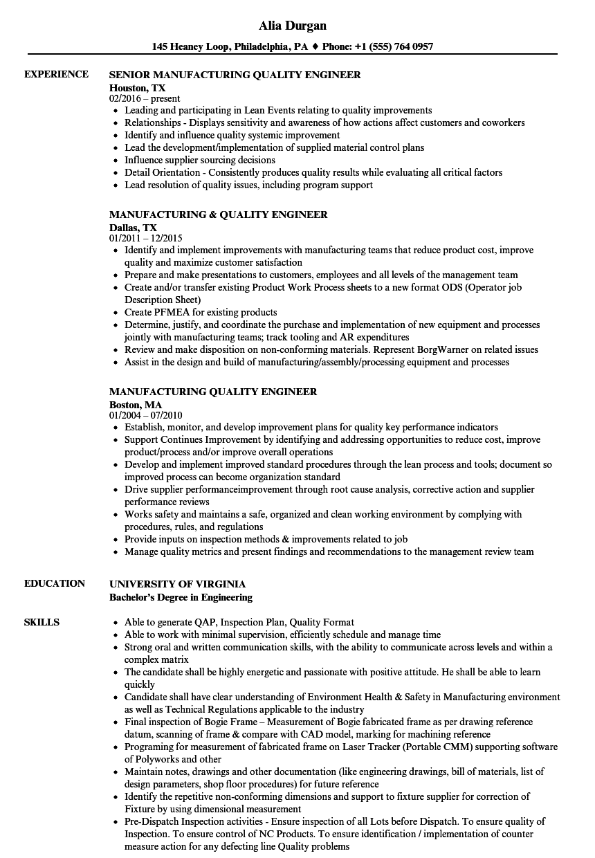 Manufacturing Quality Engineer Resume Samples | Velvet Jobs