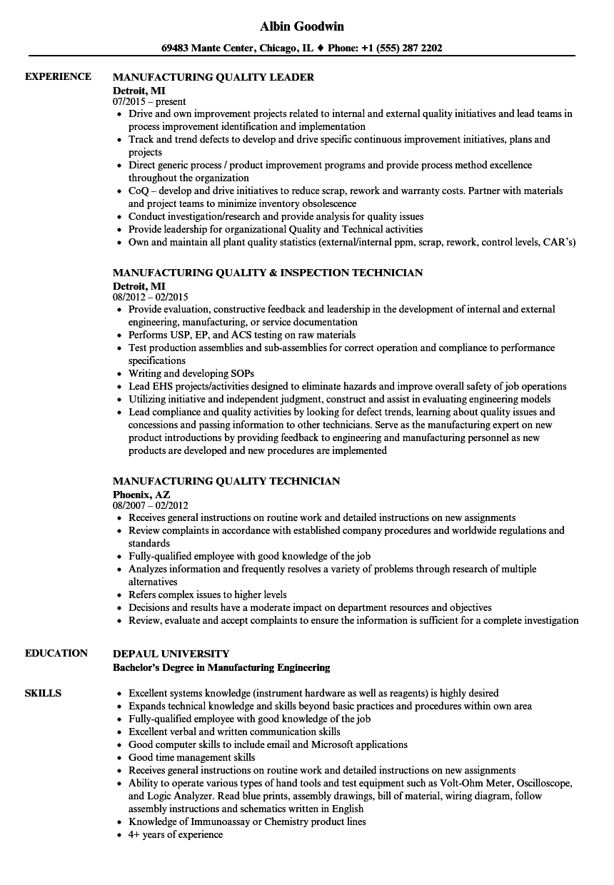 manufacturing quality resume samples