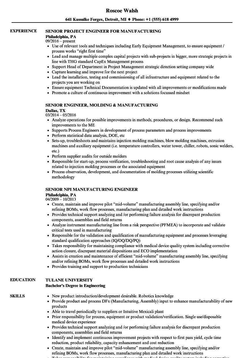 Manufacturing Senior Engineer Resume Samples | Velvet Jobs