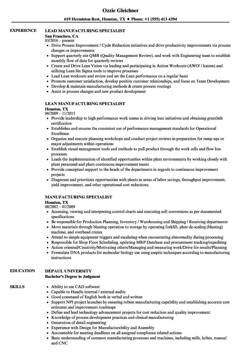 manufacturing specialist resume samples