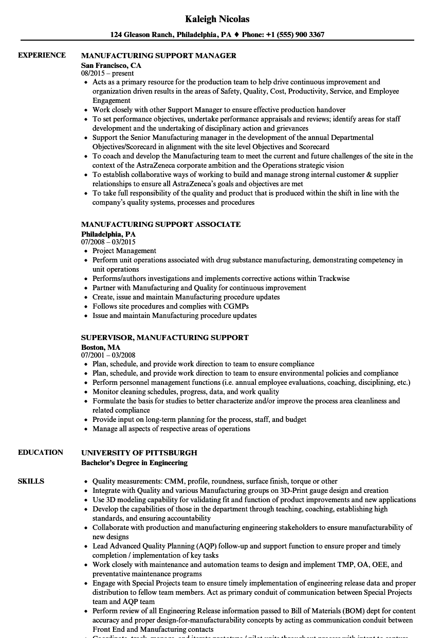 Manufacturing Support Resume Samples | Velvet Jobs