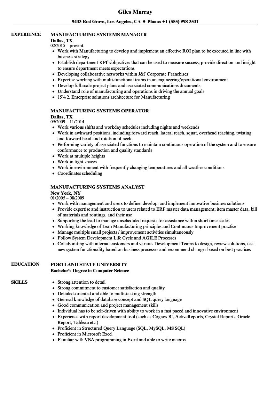 Manufacturing Systems Resume Samples | Velvet Jobs