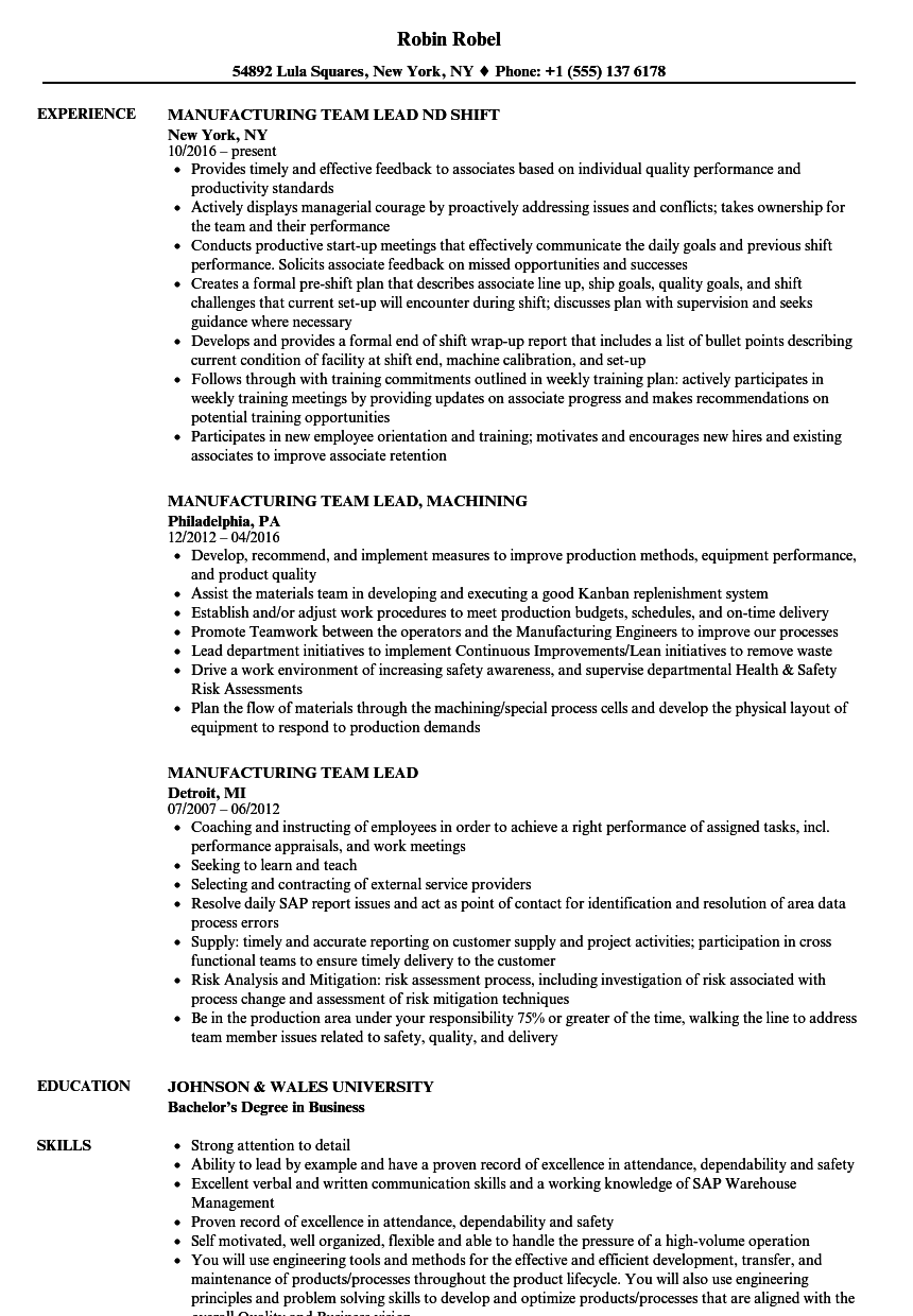 Manufacturing Team Lead Resume Samples | Velvet Jobs