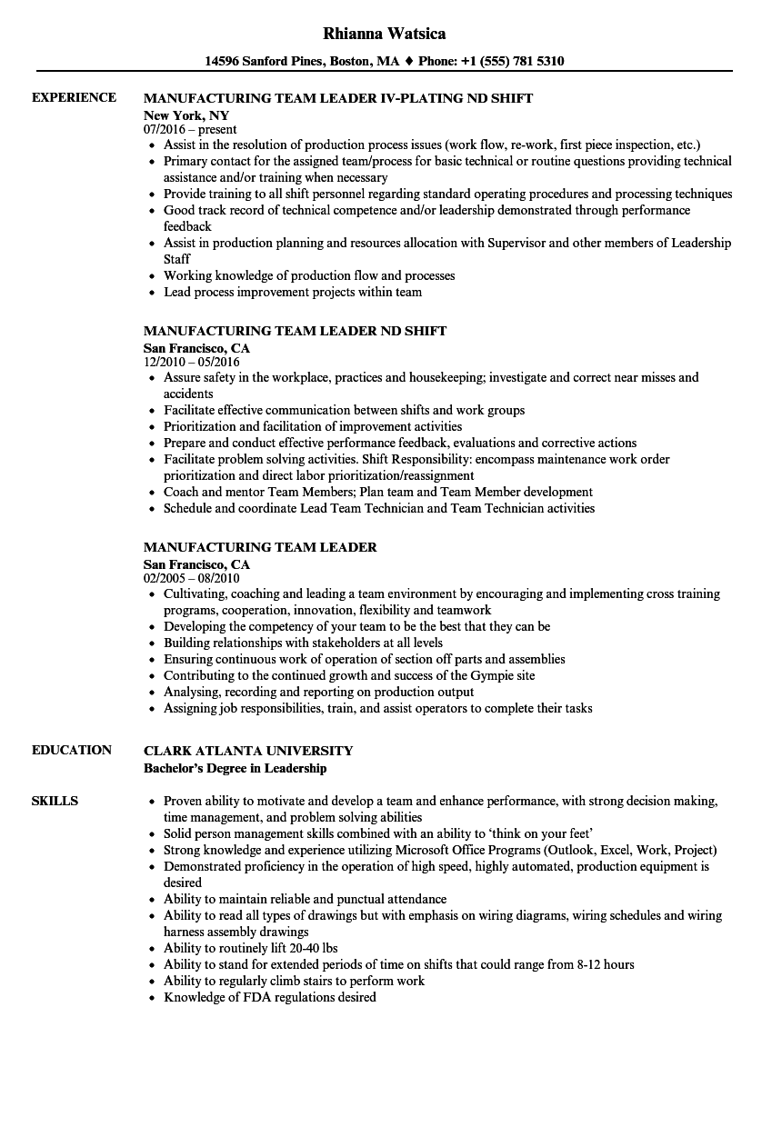 manufacturing team leader resume samples