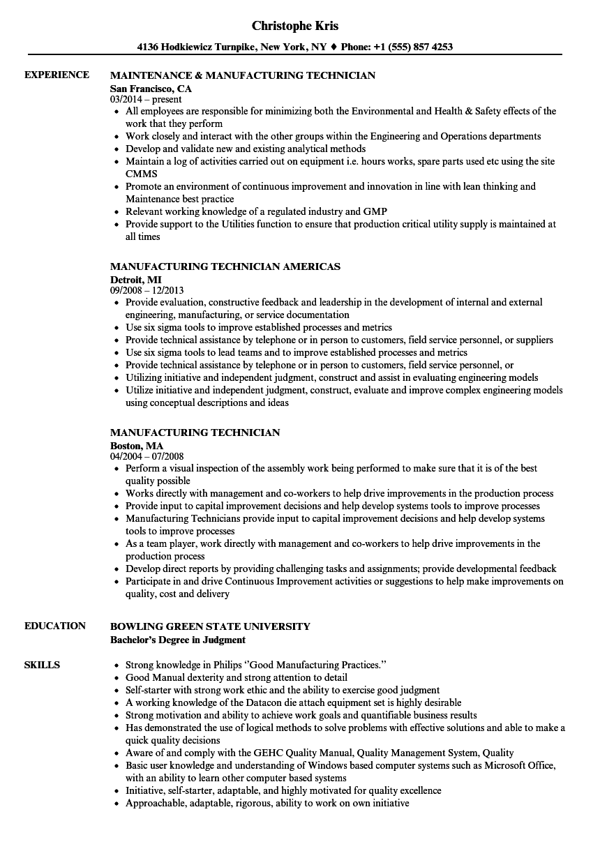 manufacturing technician resume samples