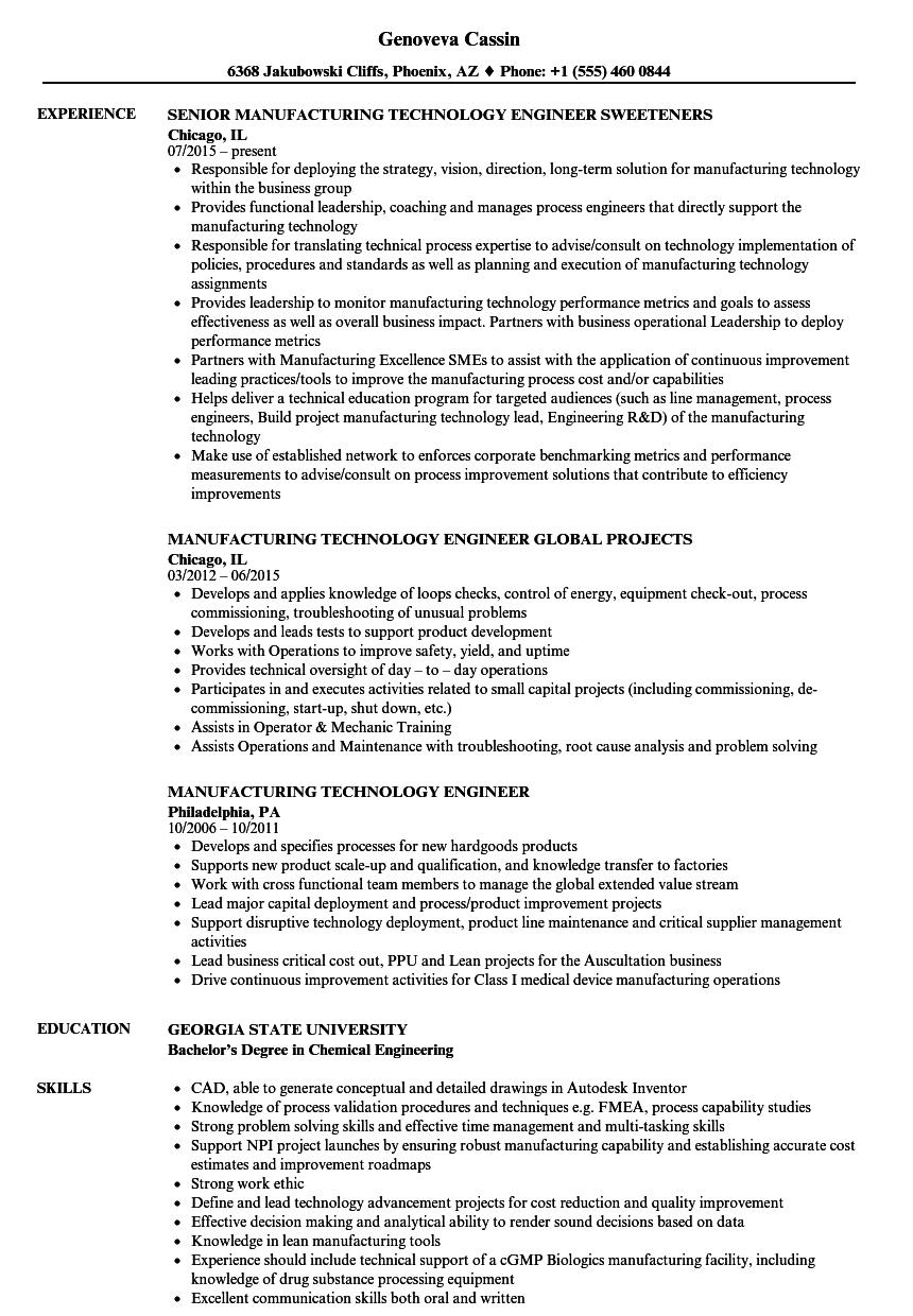 manufacturing technology engineer resume samples