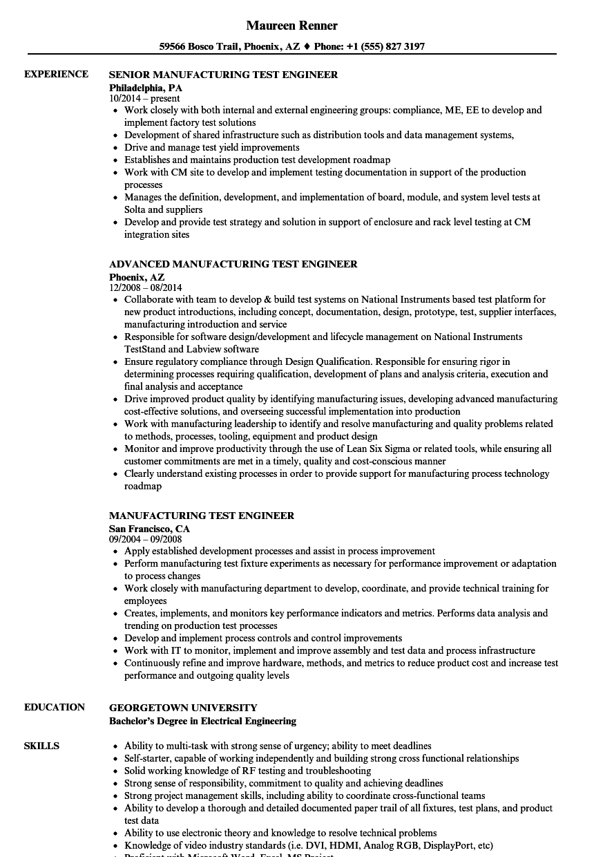 Manufacturing Test Engineer Resume Samples Velvet Jobs