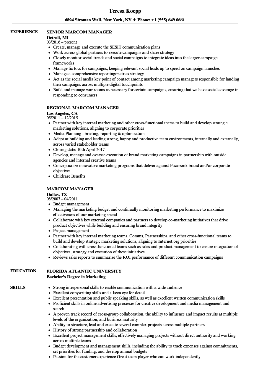 marcom manager resume samples