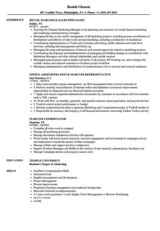 Marcom Resume Samples Velvet Jobs