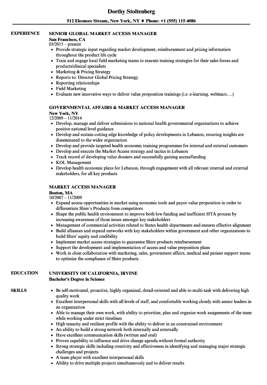 Market Access Manager Resume Samples | Velvet Jobs