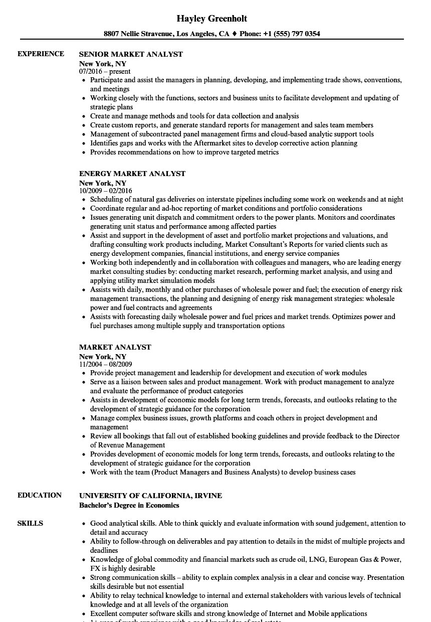 Market Analyst Resume Samples | Velvet Jobs