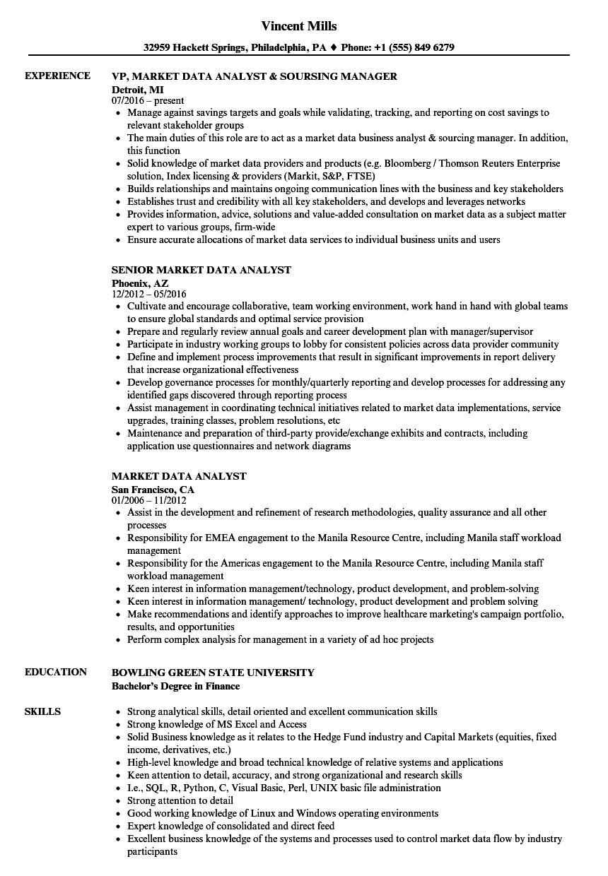 market data analyst resume samples