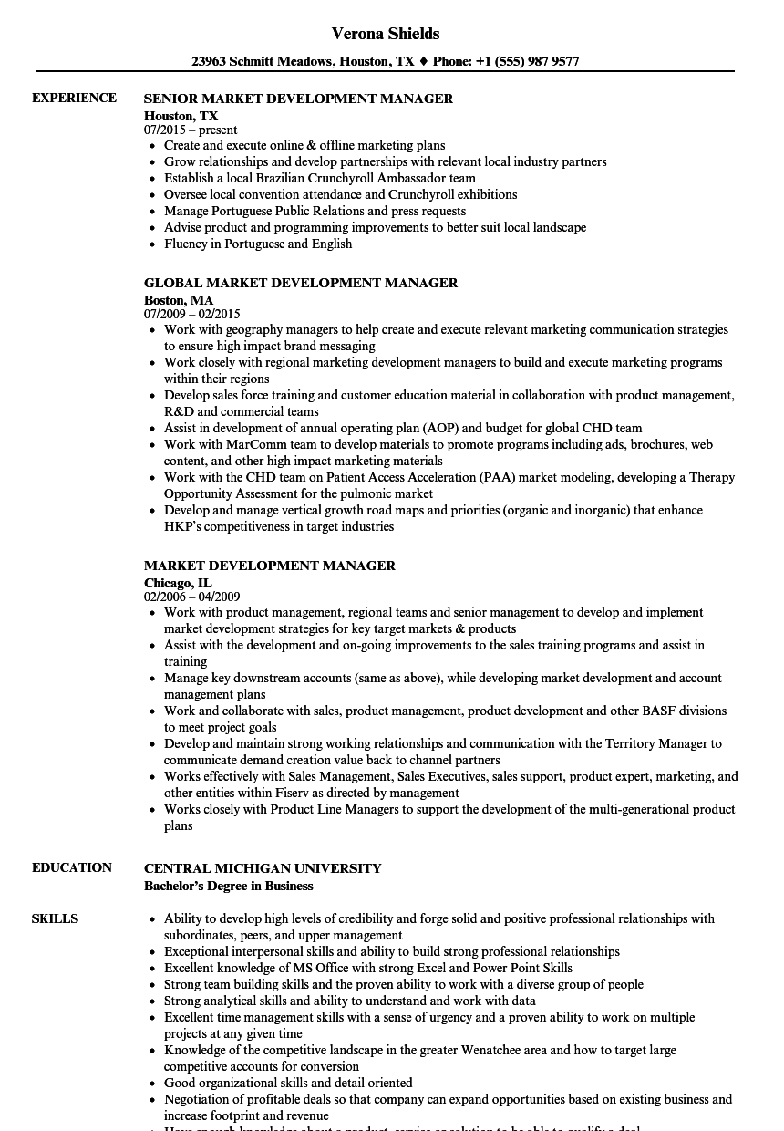 Market Development Manager Resume Samples | Velvet Jobs