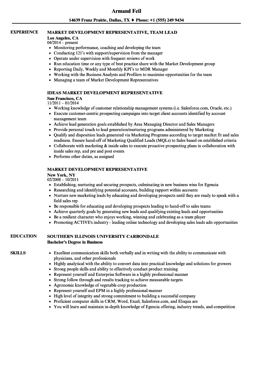 market development representative resume samples