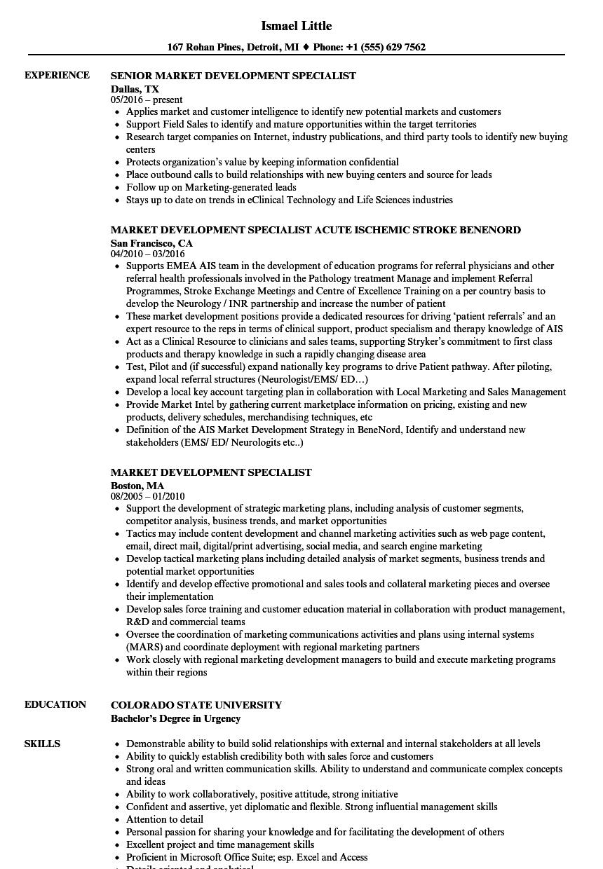 market development specialist resume samples