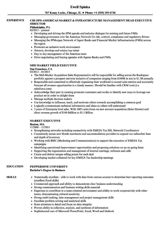 market executive resume samples