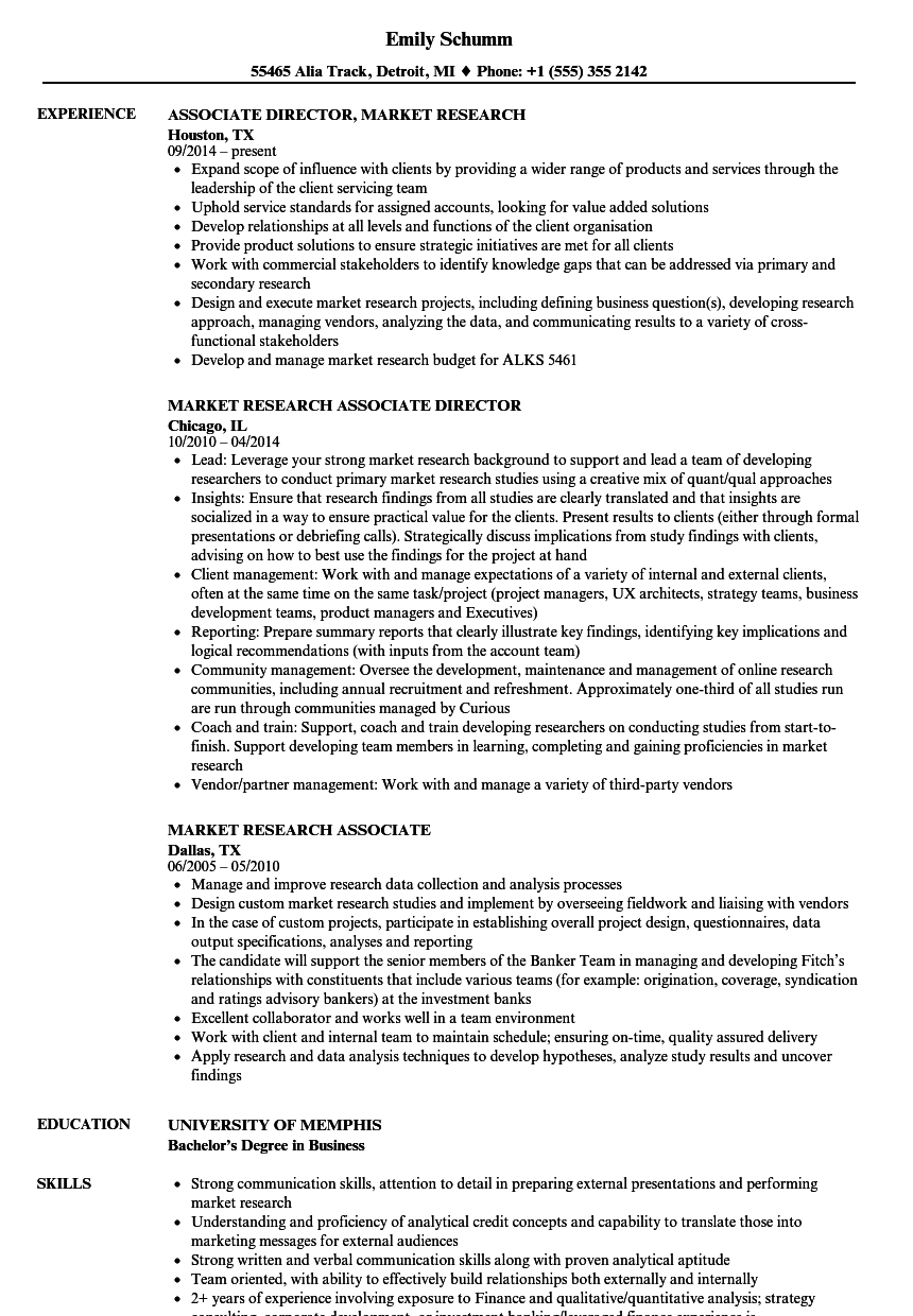 market research associate resume samples