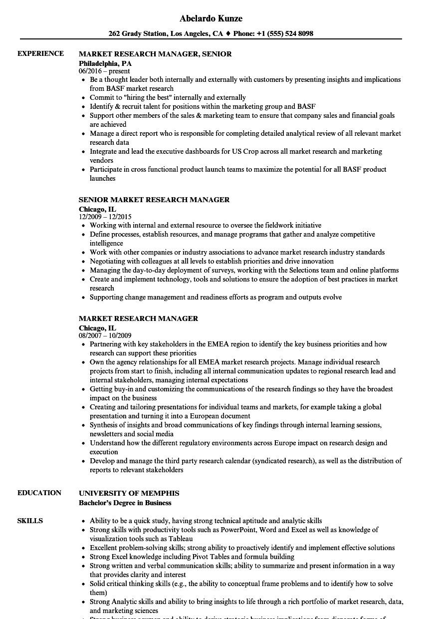 market research manager resume samples