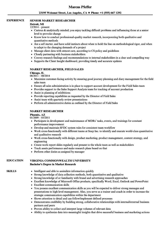 Market Researcher Resume Samples | Velvet Jobs