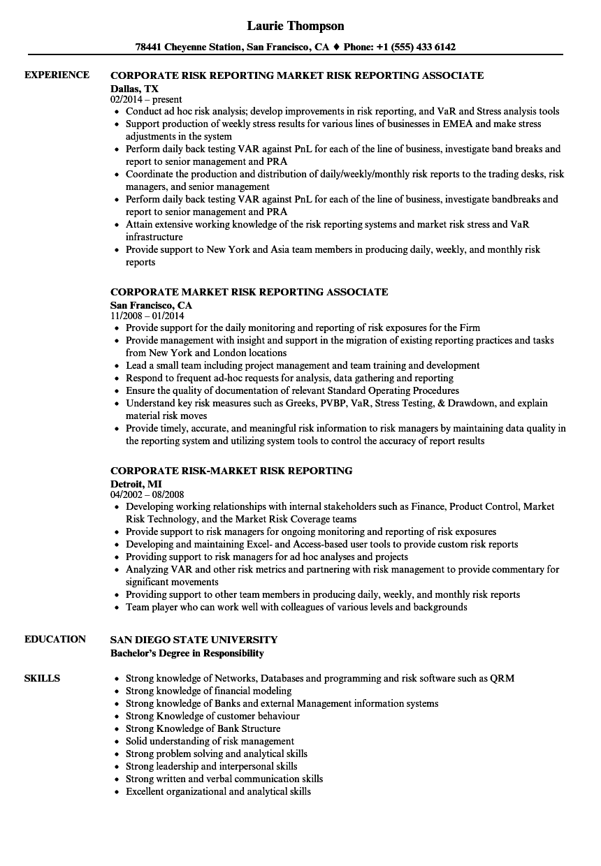 Market Risk Reporting Resume Samples | Velvet Jobs