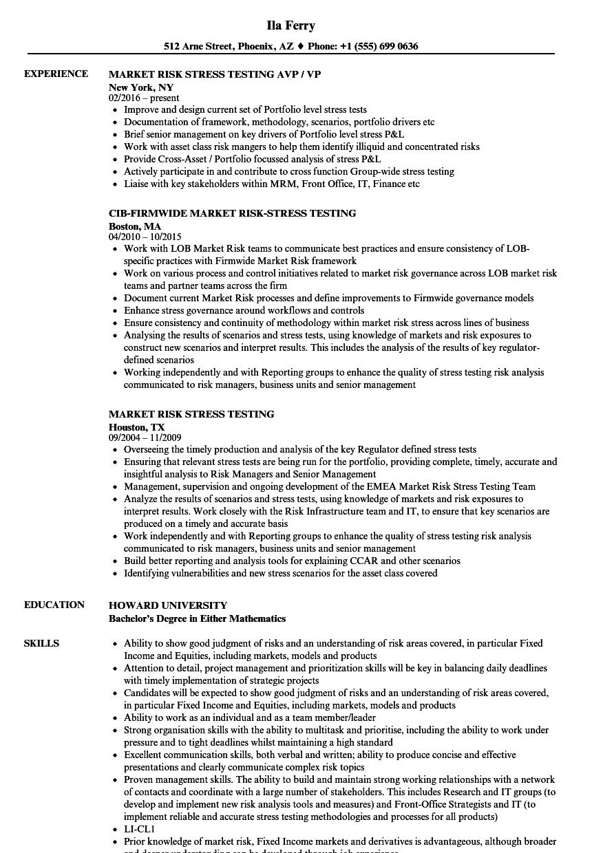 market risk stress testing resume samples