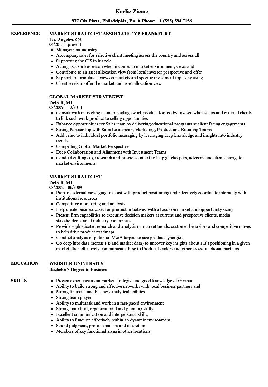 Market Strategist Resume Samples | Velvet Jobs