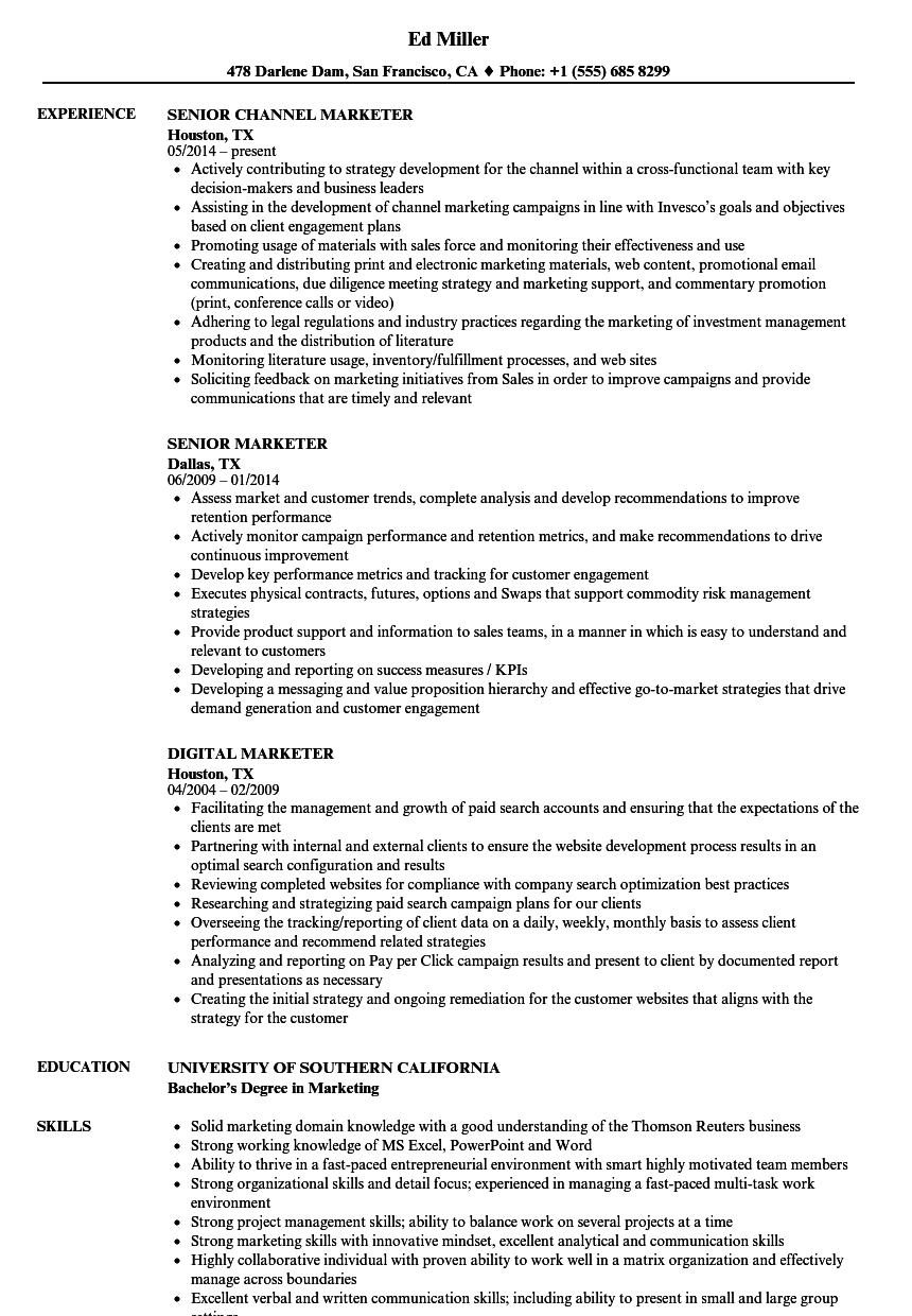 Marketer Resume Samples Velvet Jobs