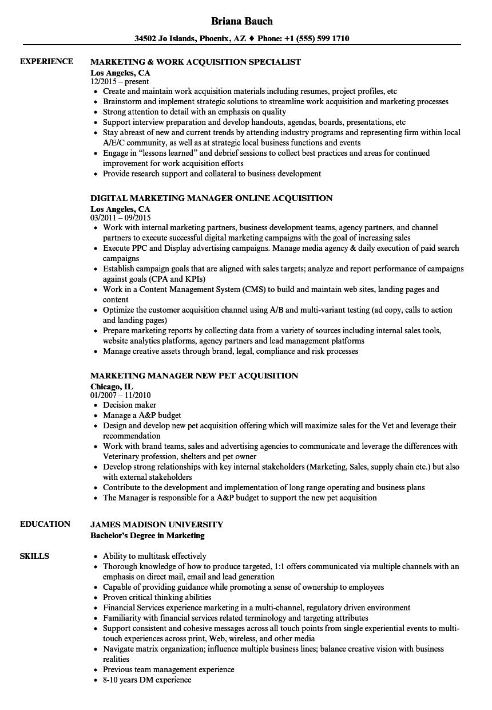 marketing acquisition resume samples  velvet jobs