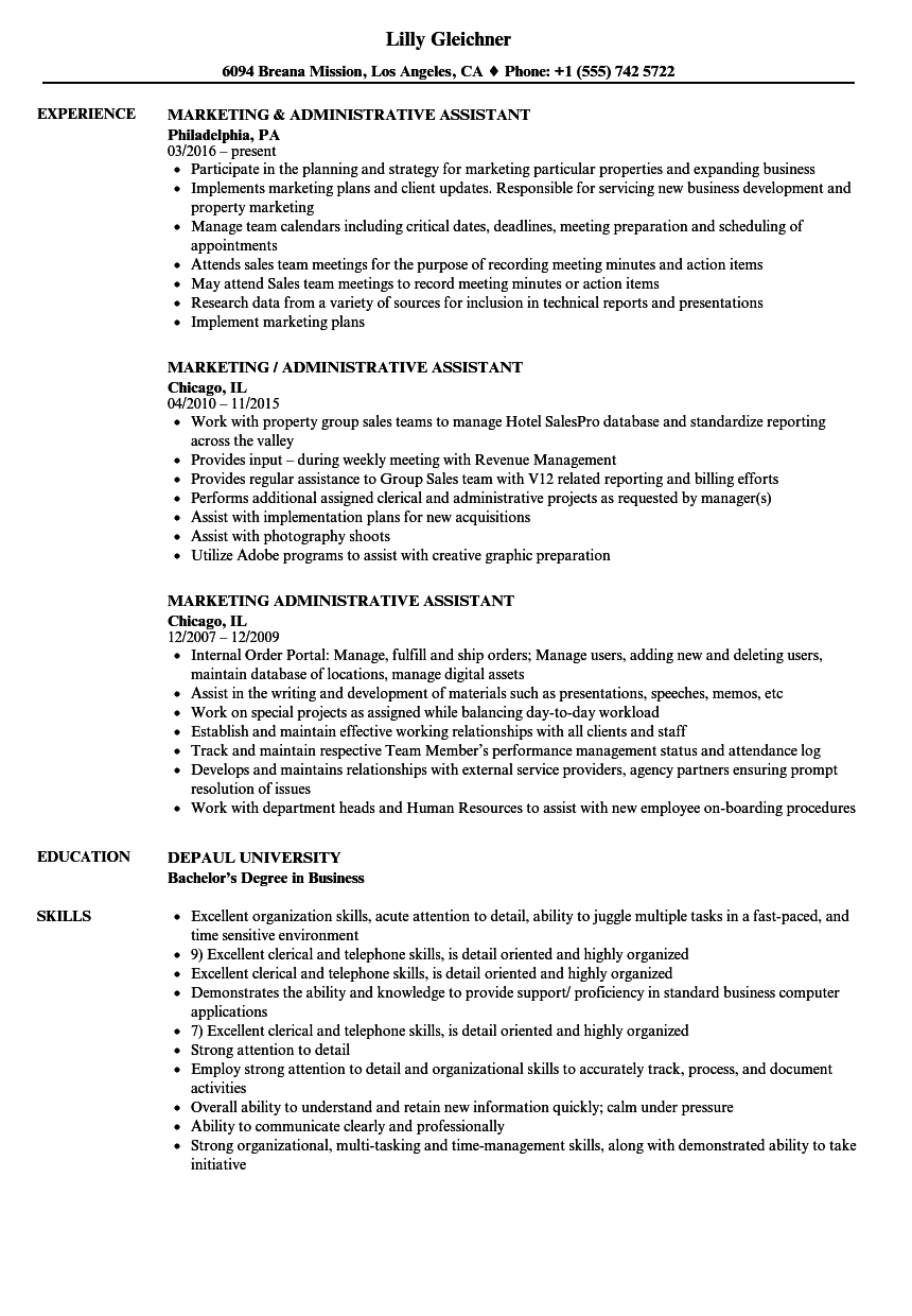 marketing administrative assistant resume samples velvet jobs