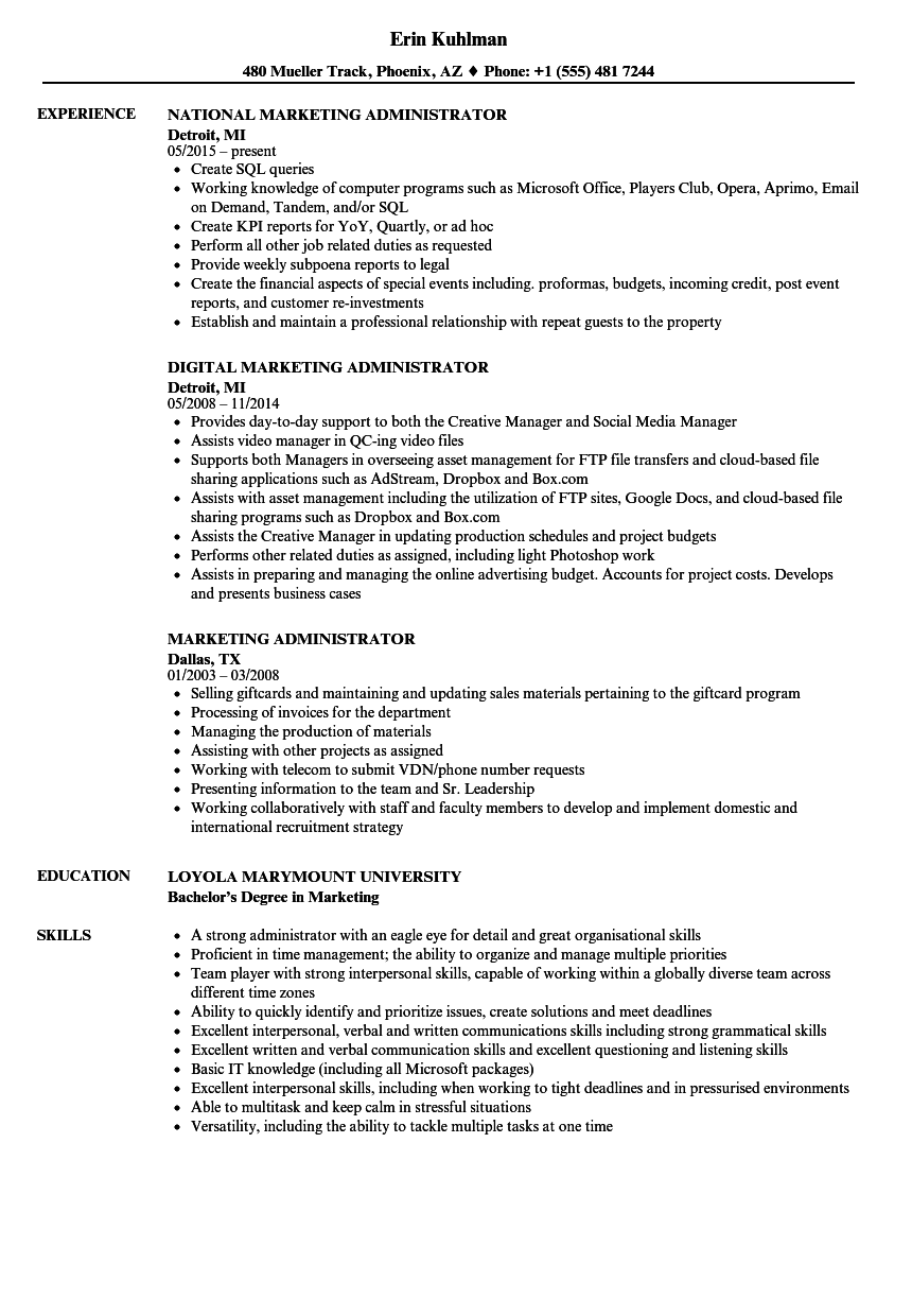 Marketing Administrator Resume Samples | Velvet Jobs