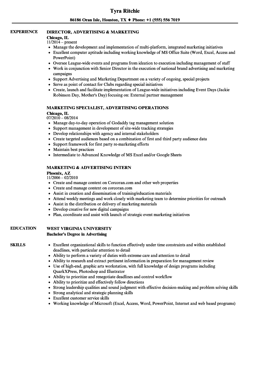 marketing  u0026 advertising resume samples