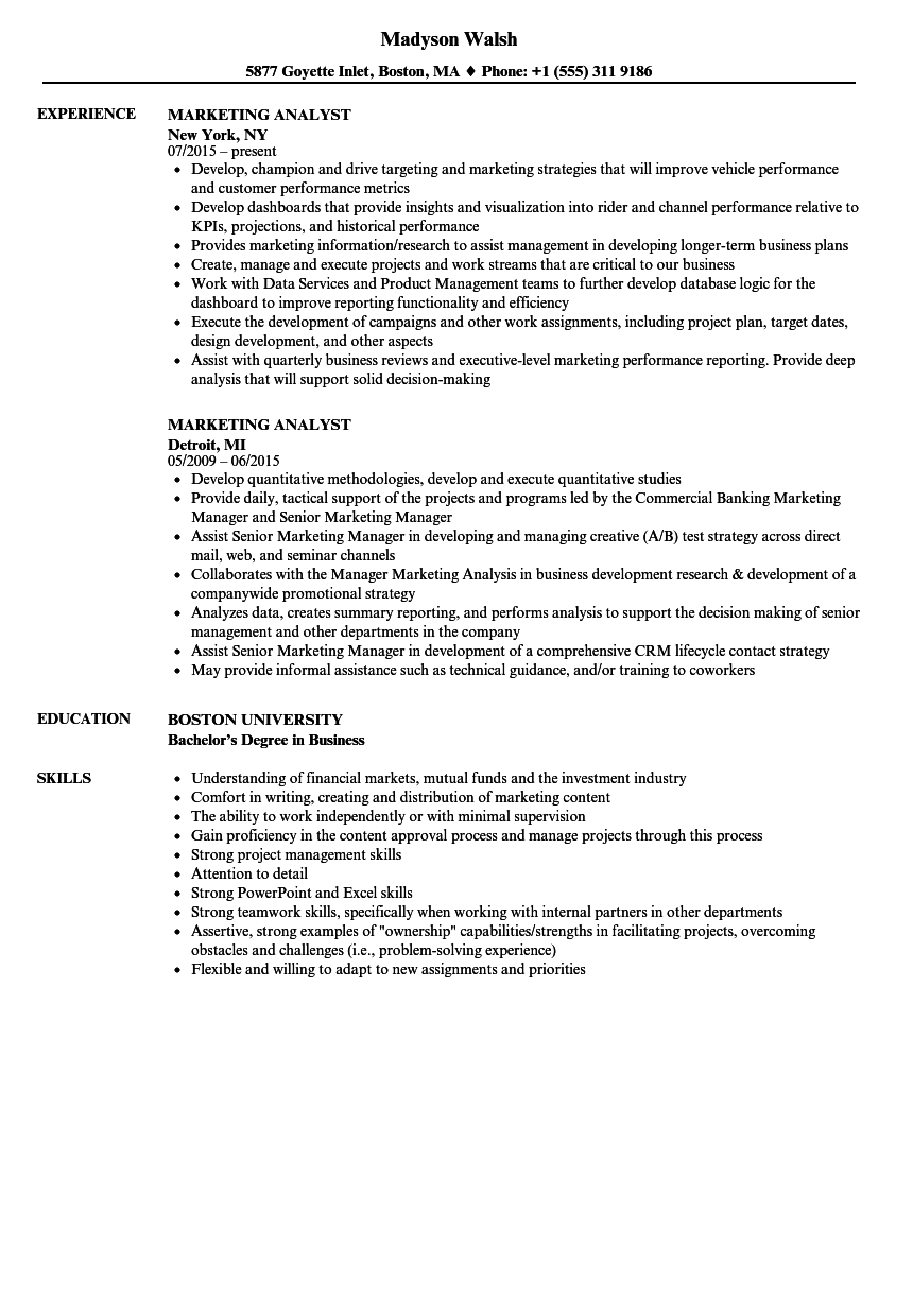 marketing analyst resume samples