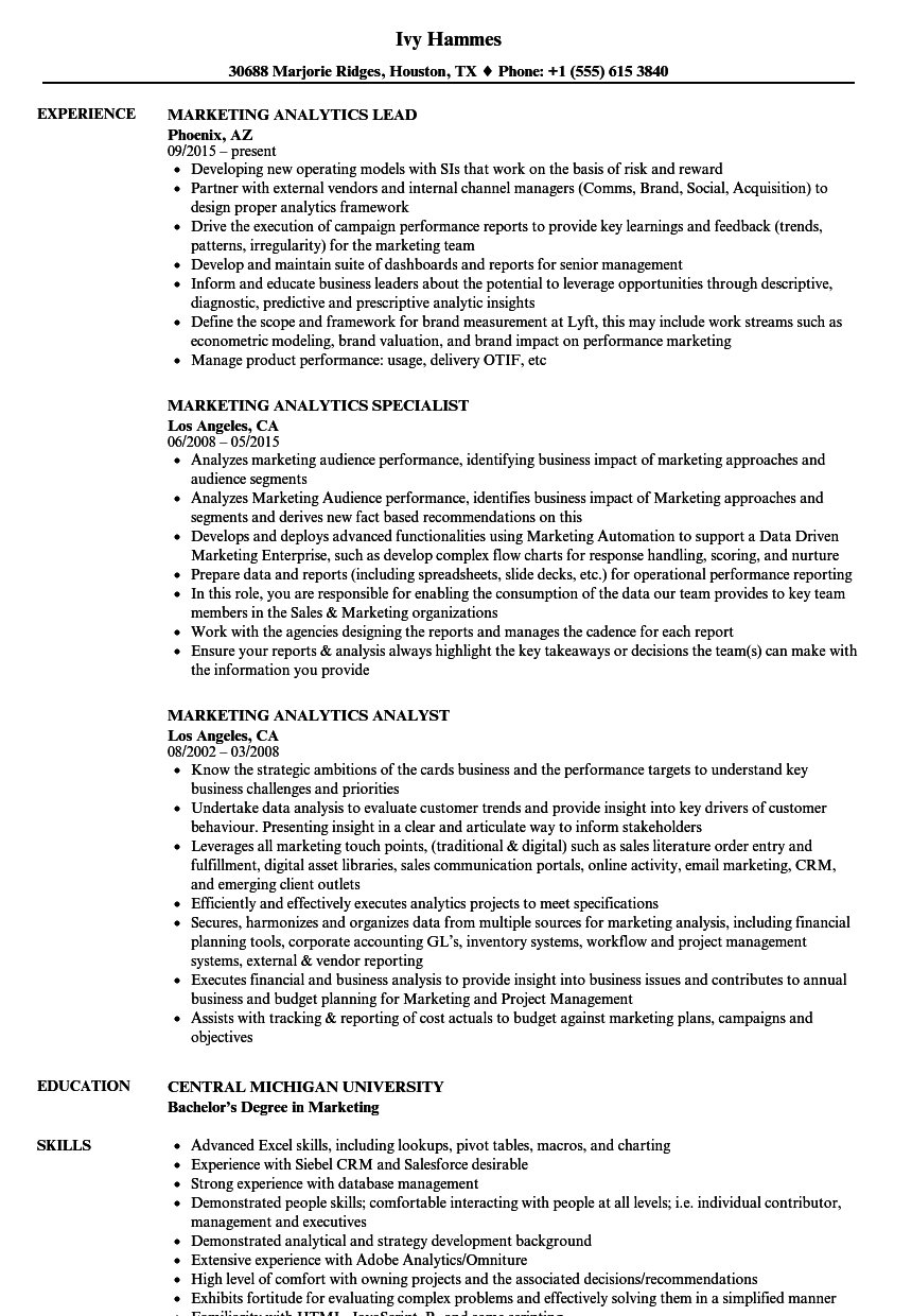 Marketing Analytics Resume Samples Velvet Jobs