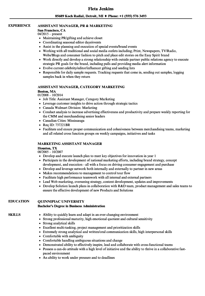 Marketing, Assistant Manager Resume Samples | Velvet Jobs