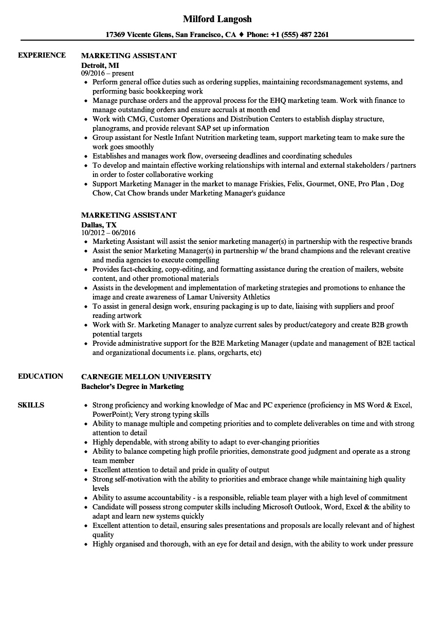 marketing assistant resume samples velvet jobs
