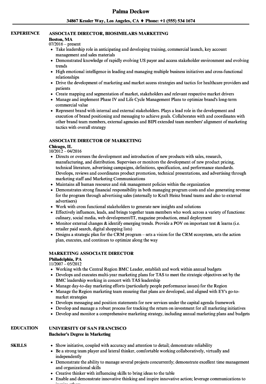 marketing associate director resume samples